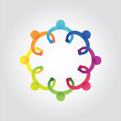 vector of colorful school people,kids holding hands
