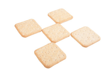 Biscuits lined checkered isolated on white background