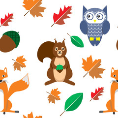 Autumn background wild animal pattern