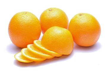 Sweet orange fruit isolated on white background