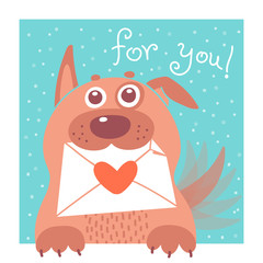 Funny dog brought the envelope. Vector illustration
