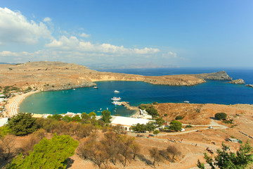 Blue bay of Lindos, Rhodes, Greece.
