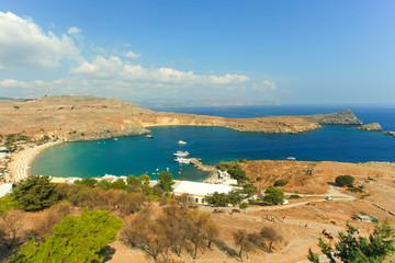 Blue bay of Lindos, Rhodes, Greece.