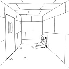 Outline of Man in Prison