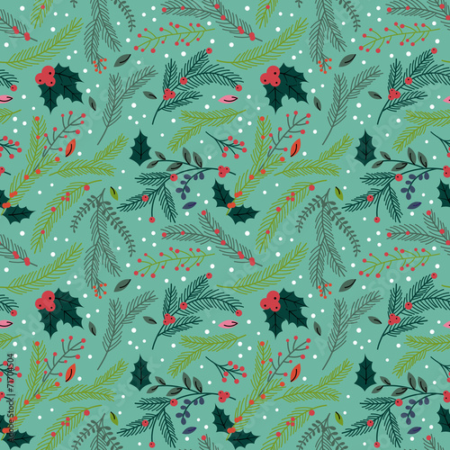 Cotton fabric Seamless Tileable Christmas Holiday Floral Background Pattern -
