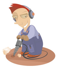 Cartoon comic worker operates with jackhammer