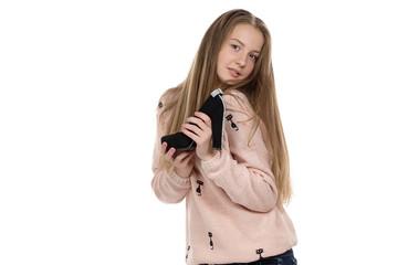 Image of teenage girl with the shoe
