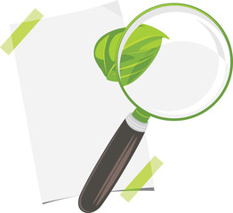 Magnifying glass, paper sheet and leaf isolated on the white