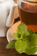 Fresh mint leaves with Teacup