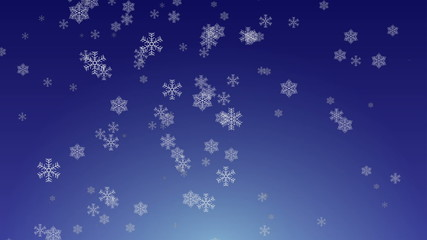 Snowflakes falling animation on blue gradient background