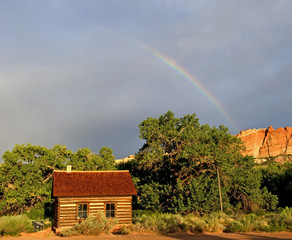 Fruita Schoolhouse with Rainbow Capitol Reef National Park