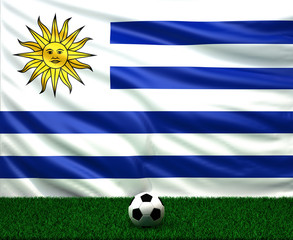 soccer ball with the flag of Uruguay