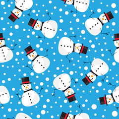 vector pattern background with funny snowman