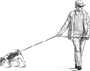man and dog on a walk