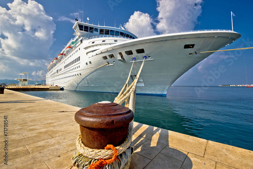 Leinwandbild Motiv Cruise ship on dock in Zadar