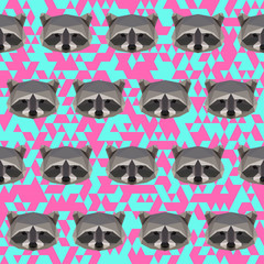 Polygonal raccoon pattern background
