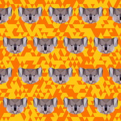 Polygonal koala pattern background