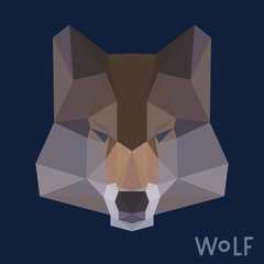 Polygonal wolf background