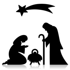 Heilige Familie, Joseph, Maria, Jesus, Komet, schwarz, Vektor
