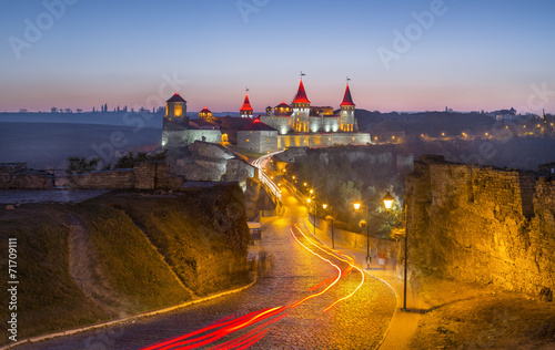 canvas print picture castle with lights