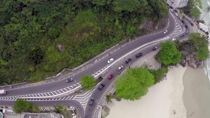 Traffic on a Famous beach in Rio de Janeiro
