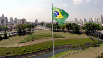 Brazil flag waving in the wind in Ipiranga, Sao Paulo