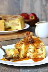 Apple pie with cinnamon and caramel sauce.