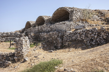 Exterior of 3 part vaulted cisterns at Aptera, Crete