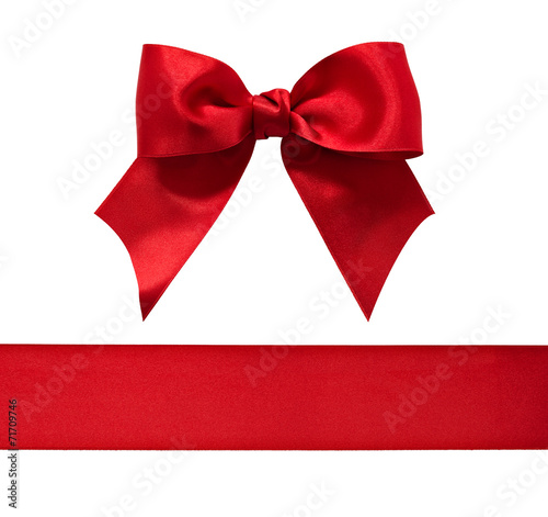 canvas print picture Red satin bow and ribbon isolated on white background