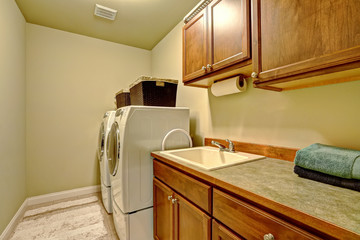 Standard laundry room interior in american house