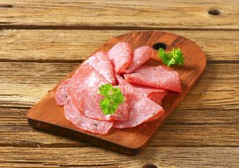 Thin salami slices