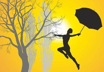 Woman with umbrella pri at sunrise