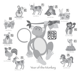 Chinese New Year Monkey with Twelve Zodiacs Illustration