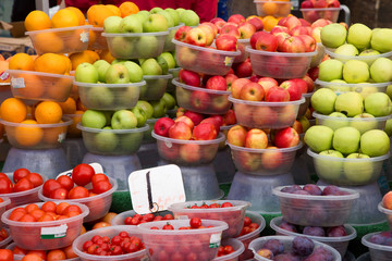 selection of fruit and vegetables at a market.