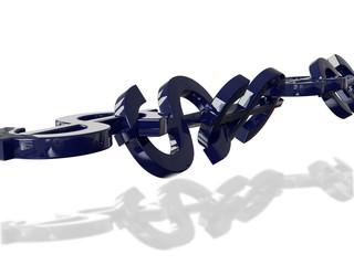 Dollar Chain 3D Concept Blue Reflection