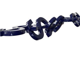 Dollar Chain 3D Concept Blue