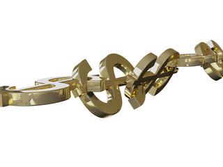 Dollar Chain 3D Concept Gold