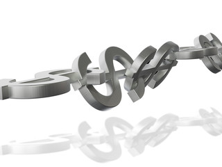 Dollar Chain 3D Concept Metal Reflection