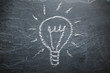 Light bulb on chalkboard