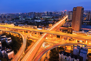colorful city interchange overpass at night in hangzhou,China