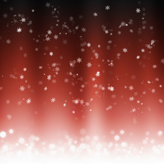 Winter background with red polar lights