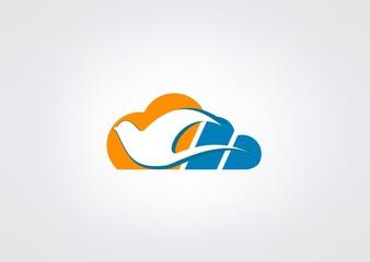 cloud Bird sun color data Abstract icon web Modren circl