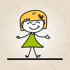 hand drawing abstract cartoon happy kids