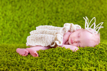 little princess sleeping on the lawn, two weeks old