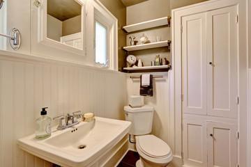 Bathroom with plank paneled wall