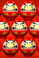 Lucky Daruma Dolls On Red