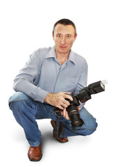 Man photographer isolated over white background