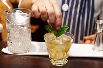 Bartender is adding mint to the cocktail