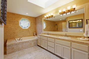 Luxury bathroom interior with tile trim