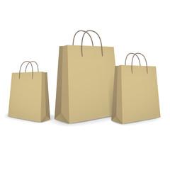 blank paper bags set in brown